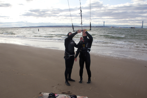 On a lesson with uKite.pro Seagate kitesurfing class in New York